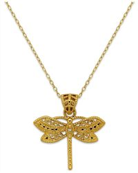 Macy's | Metallic Filigree Dragonfly Pendant Necklace In 24k Gold Over Sterling Silver | Lyst