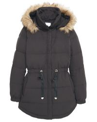 Mango | Black Detachable Hood Quilted Coat | Lyst