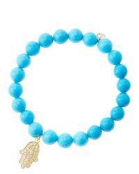 Sydney Evan | Blue 8Mm Turquoise Beaded Bracelet With 14K Yellow Gold/Diamond Medium Hamsa Charm (Made To Order) | Lyst