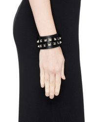 Valentino - Metallic 'Rockstud' Double Wrap Leather Bracelet - Lyst