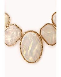 Forever 21 - White Goddess Iridescent Faux Stone Necklace - Lyst