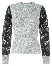 See By Chloé - Black Crochet Sleeve Sweater - Lyst