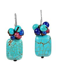 Aeravida - Blue Ethnic Cluster Square Turquoise Sterling Silver Earrings - Lyst