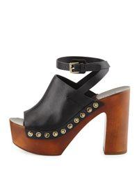 Sigerson Morrison - Black Quella Platform Clog Sandals - Lyst