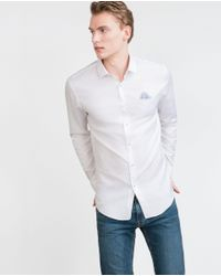 Zara | White Shirt With Printed Piped Pocket for Men | Lyst