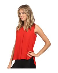 Vince Camuto | Red Blouse W/ Inverted Front Pleat | Lyst