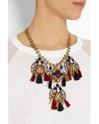 J.Crew - Red Chevron Tassel Gold-Plated Multi-Stone Necklace - Lyst