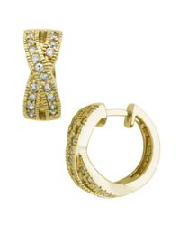 Lord & Taylor | Metallic 18kt Gold Over Sterling Silver Cubic Zirconia Hoop Earrings | Lyst