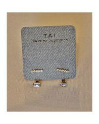 Tai | Metallic Baguette Jacket Earring | Lyst