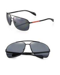 Prada - Red 64mm Metal Aviator Sunglasses for Men - Lyst