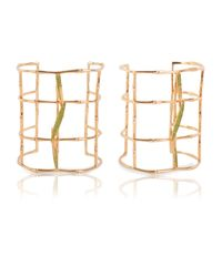 Vara Of London | Metallic Bamboo Leaves Cuff | Lyst