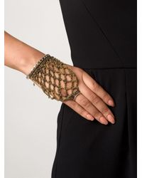 Arielle De Pinto - Metallic Chain Interlocking Ring Bangle - Lyst