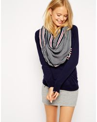 ASOS - Gray Plain Infinity Scarf with Stripe Tape Detail - Lyst