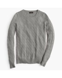 J.Crew | Gray Cambridge Cable Crewneck Sweater | Lyst
