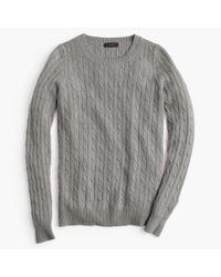 J.Crew | Gray Cambridge Cable Crewneck Sweater | Lyst
