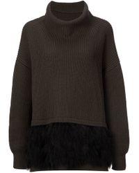 Il by Saori Komatsu | Gray Oversized Feather Hem Sweater | Lyst
