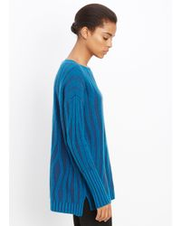 VINCE | Blue Waterfall Rib Crew Neck Sweater | Lyst