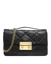 MICHAEL Michael Kors | Black Sloan Quilted Leather Messenger Bag | Lyst