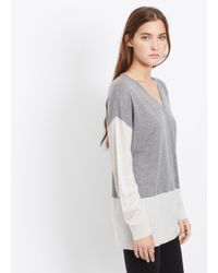 Vince | Gray Colorblock Easy V-neck Sweater | Lyst
