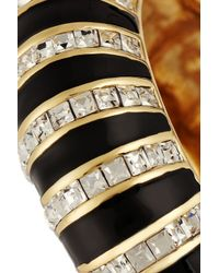 Kenneth Jay Lane | Black Gold-tone, Crystal And Enamel Bracelet | Lyst