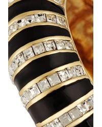 Kenneth Jay Lane - Black Gold-tone, Crystal And Enamel Bracelet - Lyst