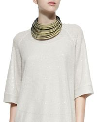 Brunello Cucinelli | Multicolor Multi-Layered Leather Necklace for Men | Lyst
