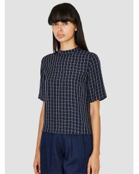 Steven Alan | Blue Decker Top Navy Windowpane | Lyst