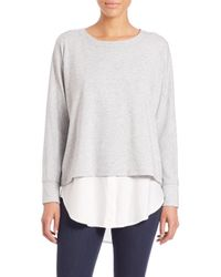 VINCE | Gray Mixed Media Sweater | Lyst