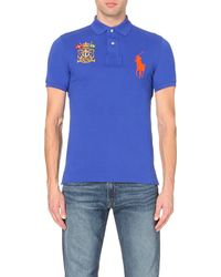 Pink Pony - Blue Branded Cotton-piqué Polo Shirt for Men - Lyst