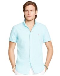 Polo Ralph Lauren | Blue Short-sleeved Oxford Shirt for Men | Lyst