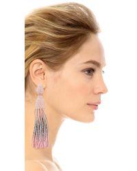 Oscar de la Renta - Pink Ombre Long Beaded Tassel Earrings - Lyst