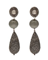 Samira 13 | Gray Tear Drop Pearl Earring | Lyst
