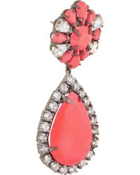 Shourouk - Pink Roma Gunmetal-Tone Crystal Earrings - Lyst