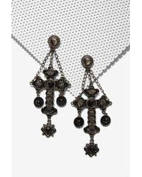 Nasty Gal - Black Jinx Cross Earrings - Lyst