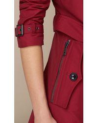 Burberry | Purple Leather Trim Technical Cotton Trench Coat Alizarin Crimson | Lyst