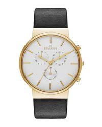 Skagen - Black 'ancher' Chronograph Leather Strap Watch - Lyst