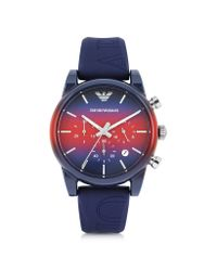 Emporio Armani | Classic Red Dial Men's Watch W/blue Silicone Strap for Men | Lyst