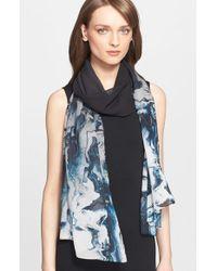 St. John - Black Marble Print Silk Scarf - Lyst