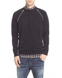 DIESEL - Black Zip Trim Crewneck Sweatshirt for Men - Lyst