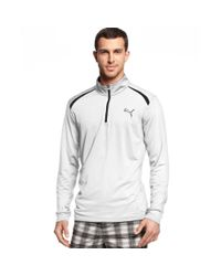 PUMA - White Coolcell Quarter Zip Performance Golf Pullover for Men - Lyst