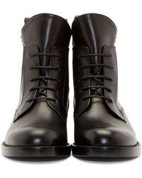 Lanvin | Black Lace_up Biker Boots | Lyst