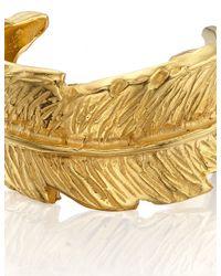 Leivan Kash | Metallic Gold Feather Open Ring | Lyst