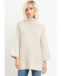 Forever 21 - Natural Textured Turtleneck Sweater - Lyst