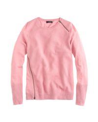 J.Crew - Pink Merino Asymmetrical Zip Sweater - Lyst