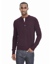 Banana Republic   Red Striped Extra-fine Merino Wool Henley Sweater Pullover for Men   Lyst