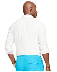Polo Ralph Lauren - White Big And Tall Solid Double-faced Shirt for Men - Lyst