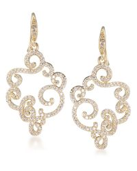 Carolee - Metallic Floral Lace Goldtone Encrusted Drop Earrings - Lyst