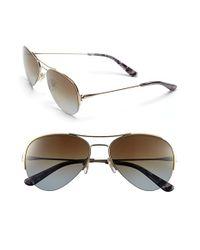Tory Burch - Metallic 55mm Rimless Aviator Polarized Sunglasses - Lyst