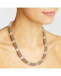 John Lewis - Black Textured Bead Faceted Glass Necklace - Lyst