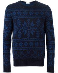 Moncler - Blue Fair Isle Sweater for Men - Lyst